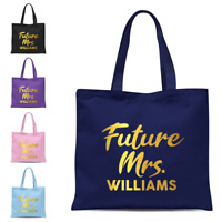 Personalised Gold Future Mrs Name Shoulder Tote Bag, Wedding Hen Engagement Gift