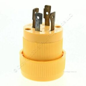 Cooper Yellow Nylon Twist-Lock Male Plug L14-20P 3-Pole 4-Wire 20A 125/250V 3465