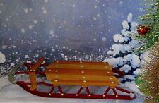 Vintage Miniature Wood & Metal Sled Christmas Decoration