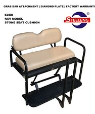 Rear Flip Seat Kit for EZGO Golf Cart RXV 2008-2015 Model (Stone) with Grab Bar