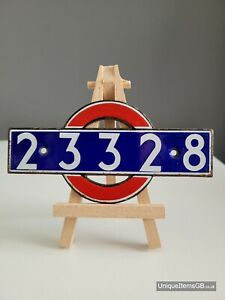 Early London Underground 23328 Enamel Stock Number Plate from P-stock motor Car