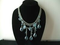 3 Strand Multi-Faceted Sky Blue Tear Drop Necklace, 25 inches, 1950's
