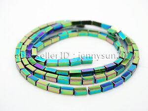 Hematite Gemstone Rectangular Bar Beads 16'' Metallic Multi-Colored Silver 2x4mm