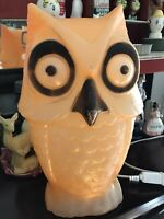 VINTAGE HALLOWEEN OWL BLOW MOLD LIGHT UP VG Condition