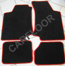 Für BMW 4er F33 Cabrio Fußmatten Velours Deluxe schwarz mit Rand rot gekettelt