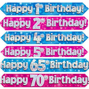 Birthday Banners Decorations Ages 1 - 70 Girl Boy Male Female