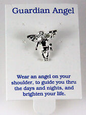 6030333 Guardian Angel Rhodium Silver Plated Lapel Pin Brooch Tie Tack Collar...