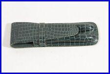 """dark green leather pouch CROCO imprint 2 pens """"KAROSSERIEFABRIK VOLL WÜRZBURG"""""""