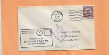 DEDICATION POST OFFICE BAY CITY MICH 1933 UNCLAIMED MAIL  VINTAGE COVER+