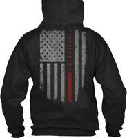 Printed Firefighter Thin Red Line - Fire Fighter Gildan Gildan Hoodie Sweatshirt