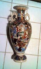 "22"" BIG VASE Satsuma Japan 100 years old hand painted Nippon Pottery Fabulous"
