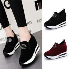 Women Fashion Casual Flock Slip-On Thick Platform Sport Wedges Shoes