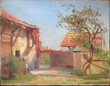 Tableau Ancien Huile Impressionniste signé A WEBER Paysage Cour de Ferme Genève