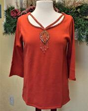 NEW Bob Mackie Women S Sweater Relaxed Fit Cotton Blend 3/4 Sleeve Wearable Art