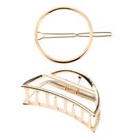 2 / pack géométrie de pince à cheveux en métal doré pinces à cheveux