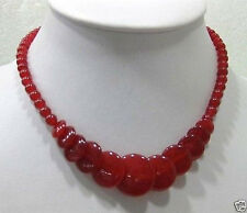 """Beautiful Natural Red Jade Gemstone Round&Coin Beads Necklace 17"""""""