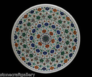 """52"""" Dining Table Top Marble Inlaid Semiprecious Stone Multicolor Drafting Table"""
