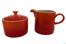 Le Creuset Volcanic Flame Orange Coffee Café Creamer Jug Sugar Bowl Set
