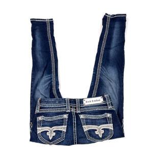 Rock Revival Dark Blue Denim Lavinia Ankle Skinny Stretch Jeans Rhinestone 27