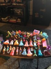 Large Polly Pocket Disney Princess Lot Castle Furniture Dolls Gowns Accessories