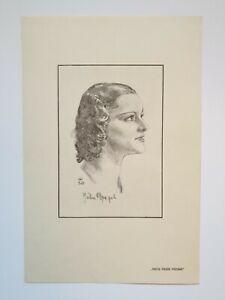 Portraitzeichnung JULIA DRAPAL 1936 Primaballerina Wr. Staatsoper Ballett Autogr