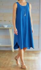 J Jill Pure Jill XL Jumper Dress Denim Blue Indigo Cotton Knit ALine Relaxed Fit