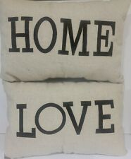 HOME  & LOVE - Throw Pillows ~ canvas . new  16 x 12 Faux Leather Letters.