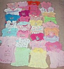 Lot Of 35 Baby Girl Clothes Summer Bodysuits and Shirts Size 0-3 Months