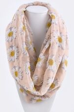 B24 Eternity Sunflower Infinity Scarf Soft Peach White Yellow Boutique