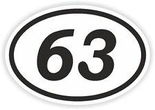 63 63 número Oval pegatina de parachoques etiqueta Motocross Motocicleta aufkleber