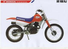 1988 HONDA XR100 RJ  2 Page Motocycle Brochure NCS