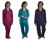Ladies Plain Cotton Jersey Traditional PJ / Pyjamas Set / Night Wear