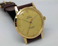 SLIM HMT SONA PARASHOCK 17 JEWELS GOLDEN DIAL MEN'S G/P CASE INDIA WRIST WATCH