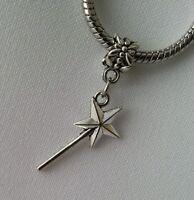 Silver Magic Wand Wizard Of OZ Godmother Dangle Bead Fit European Charm Bracelet