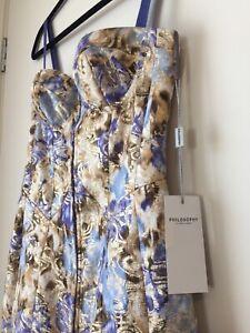 PHILOSOPHY DI ALBERTA FERRETTI Floral Purple Silk Cotton Pencil Dress Size IT40