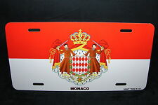 MONACO FLAG METAL NOVELTY LICENSE PLATE TAG FOR CARS  Drapeau de Monaco