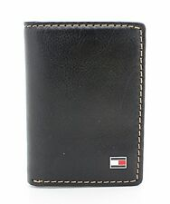 NEW TOMMY HILFIGER LOGAN TRIFOLD BLACK LEATHER CREDIT CARD CASE MEN'S WALLET