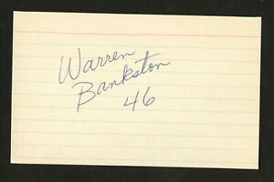 Warren Bankston signed autograph 3x5 card Steelers Tulane Football Player F277