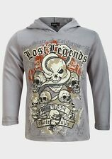Boys Respect Lost Legends Skull Print Long Sleeved Hooded T-shirt 2-3 Years Grey 100 Cotton Novelty/cartoon