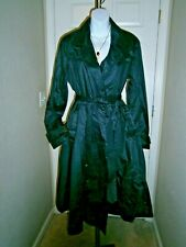 Unbranded Black 100% Cotton Tie Waist Fit and Flare Lightweight Trench Coat SzL