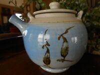 Art Pottery TeaPot Studio Blue Signed Imperfection Handmade pre owned