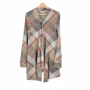 Soft Surroundings Size XL Bonnie Plaid Topper Cardigan Layering Top Brown Red