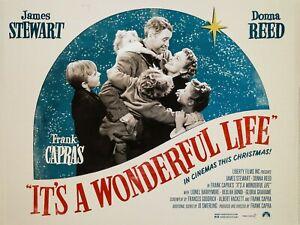 "It's a Wonderful Life repro UK quad cinema poster 30x40"" FREE P&P James Stewart"