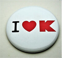 """I """"Heart"""" K K-Mart Department Store Large Emploee Button Pin NOS New 2000's"""