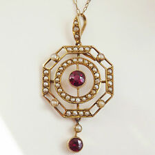 Stunning Art Deco 9ct Gold Pink Tourmaline & Pearl set Pendant Necklace c1920