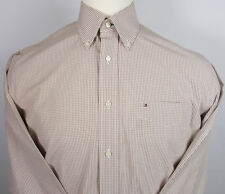 Tommy Hilfiger Mens Shirt Size M Brown and White Plaid Button Up 100% Cotton