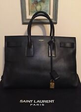 Authentic YSL Yves Saint Laurent Large Navy Leather Sac De Jour Bag