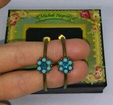 Michal Negrin Blue Crystal Rhinestones Floral Flower Hoop Post Stud Earrings