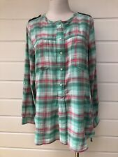 COUNTRY ROAD Womens Green & Pink Plaid Casual Long Sleeved Tunic Shirt - Medium