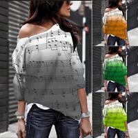 Damen Freizeit Rundhals T-Shirt Langärmelig Bedruckt Bluse Top Locker Hemden